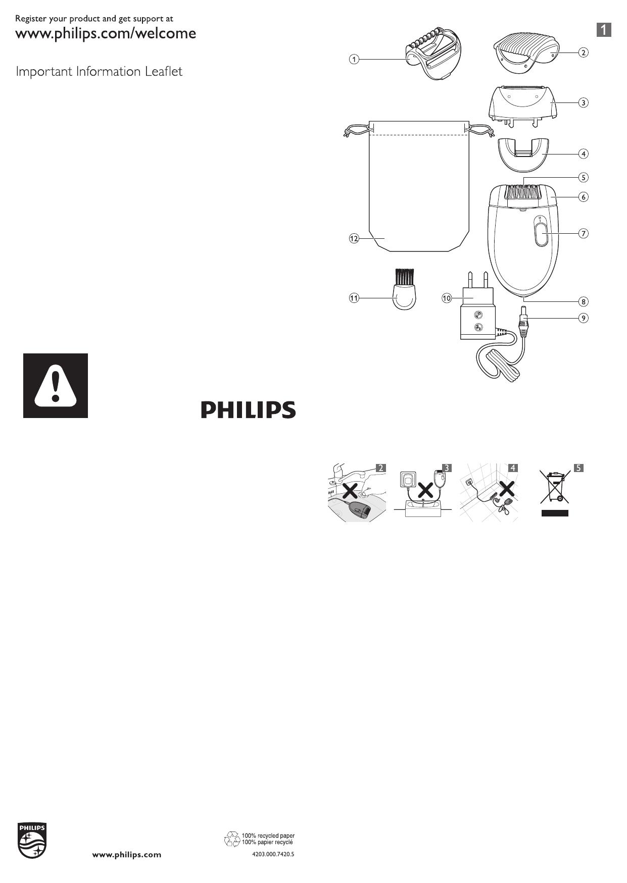 Philips Satinelle Essential Epilator BRE40/40 User manual   Manualzz