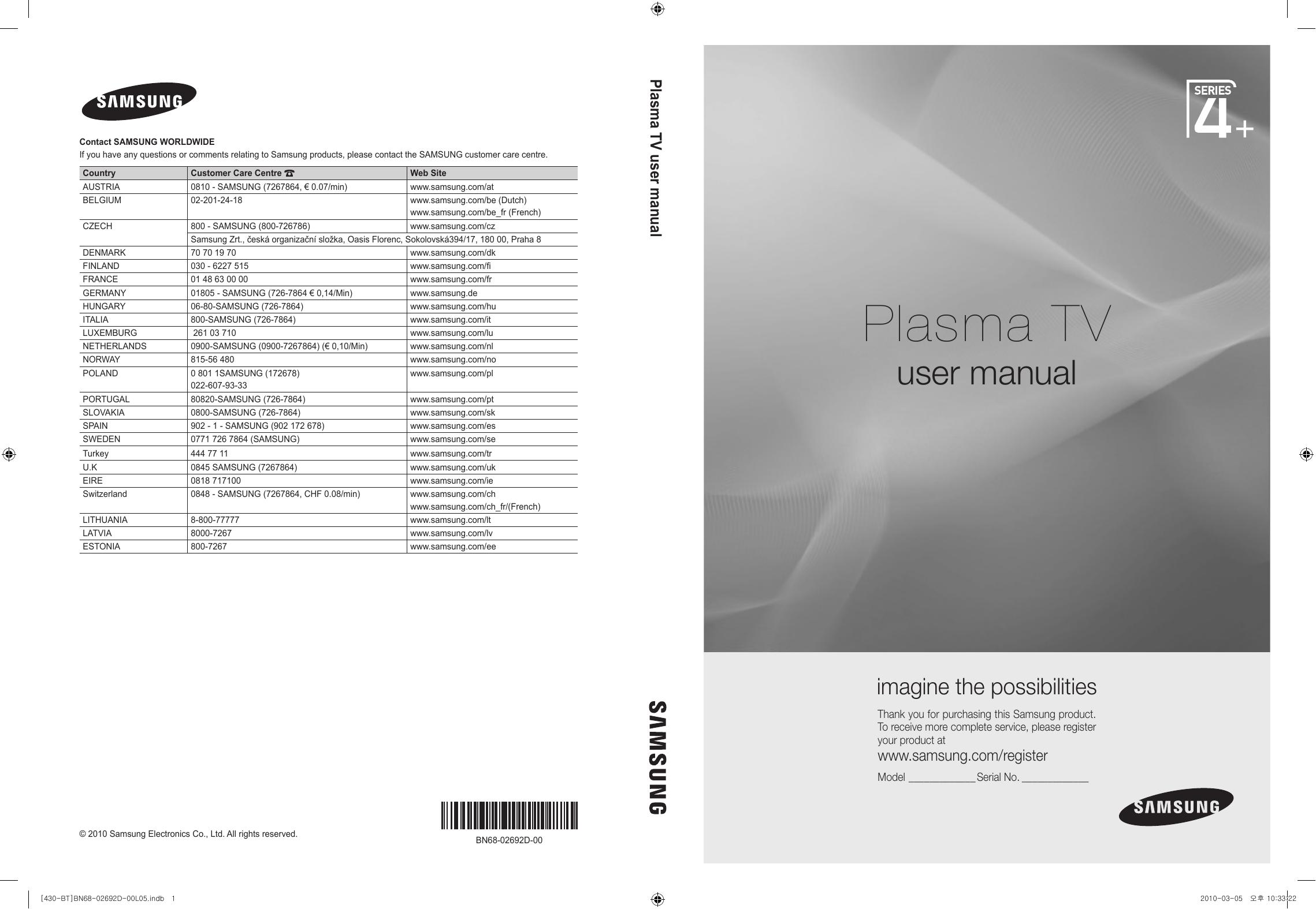Samsung 42'' C430 4. serija plazma TV Vartotojo vadovas   Manualzz