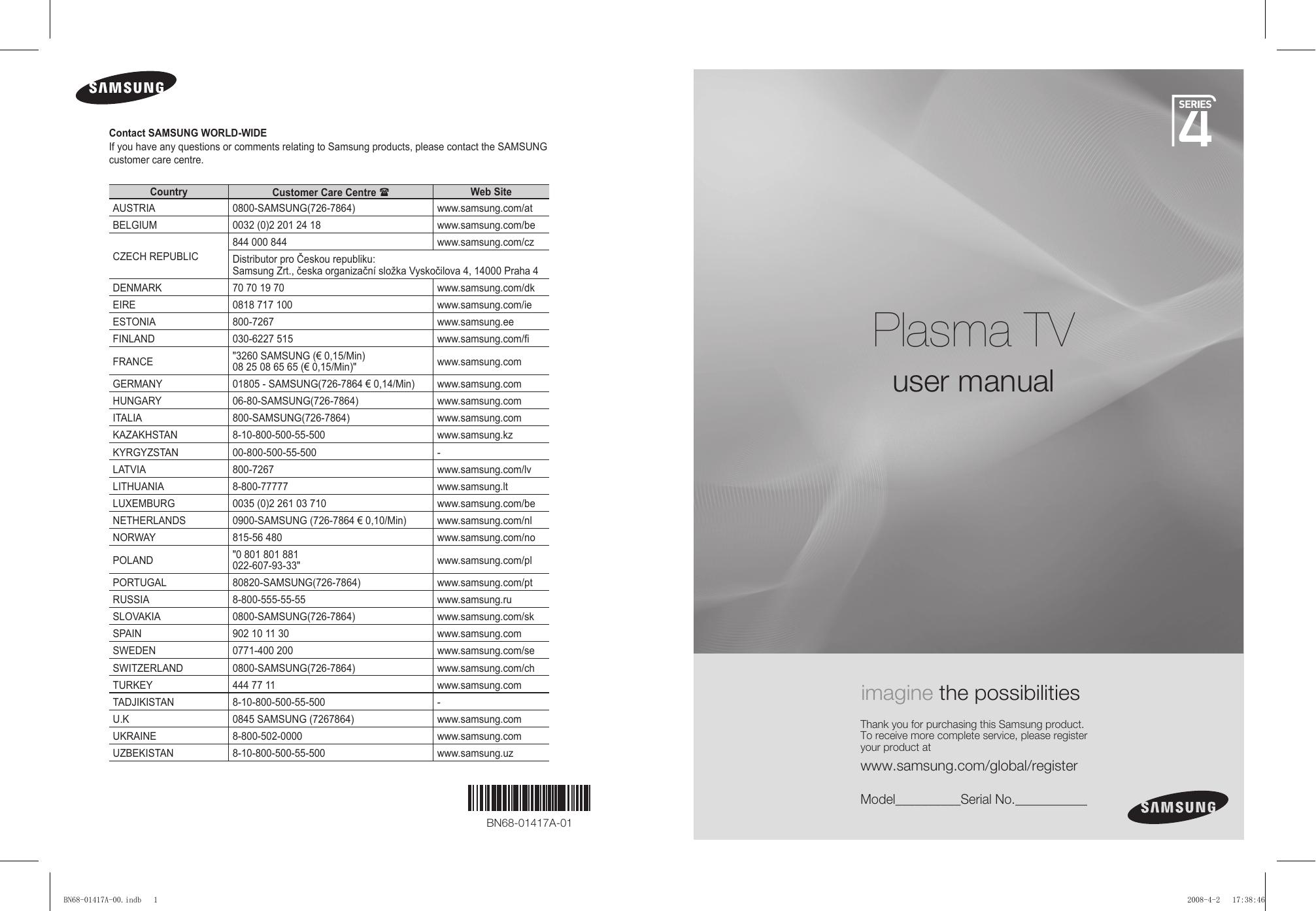 Samsung Ps42a451p1 Ps50a451p1 Manual Do Usuário Manualzz