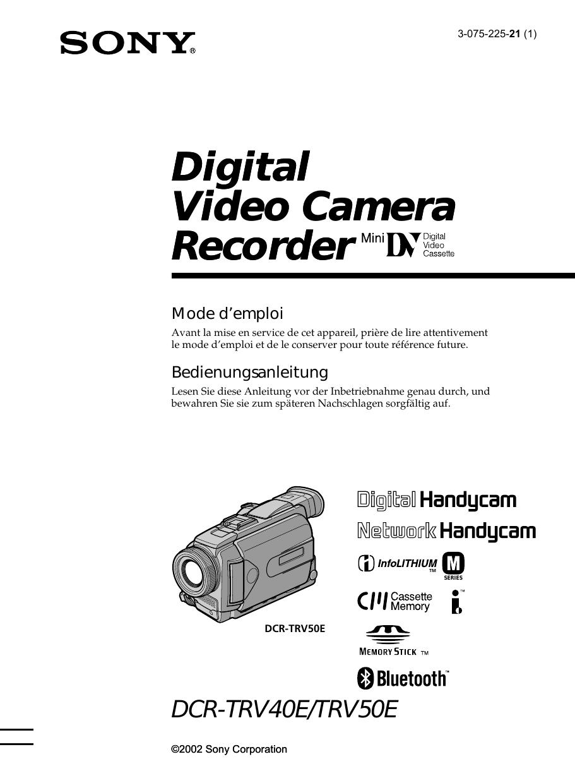 Sony DCR TRV12E, DCR TRV12E, DCR TRV12E, DCR TRV12E Owner's manual ...