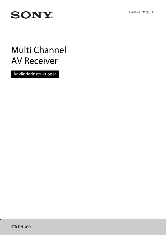 Sony STR-DN1030 STR-DN1030 Home cinema AV receiver Bruksanvisning ... 2091b73eb49ef