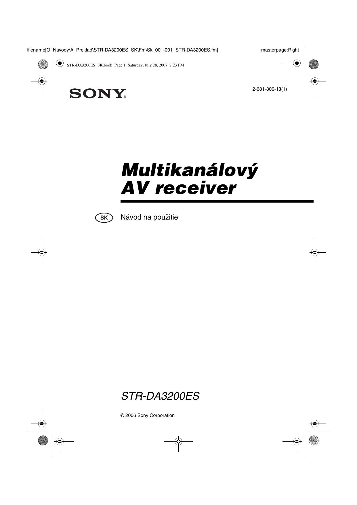 Sony Str Da3200es User Manual Manualzz