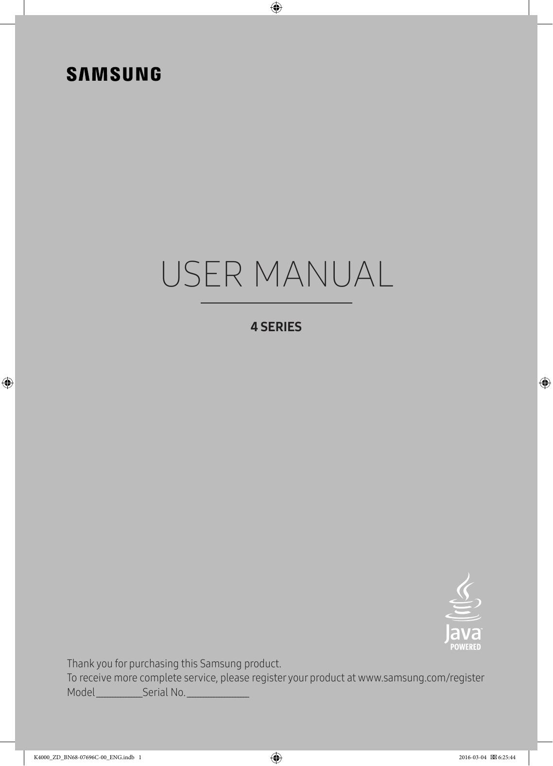 Samsung 24'' HD Flat TV K4000 Series 4 User Manual | Manualzz