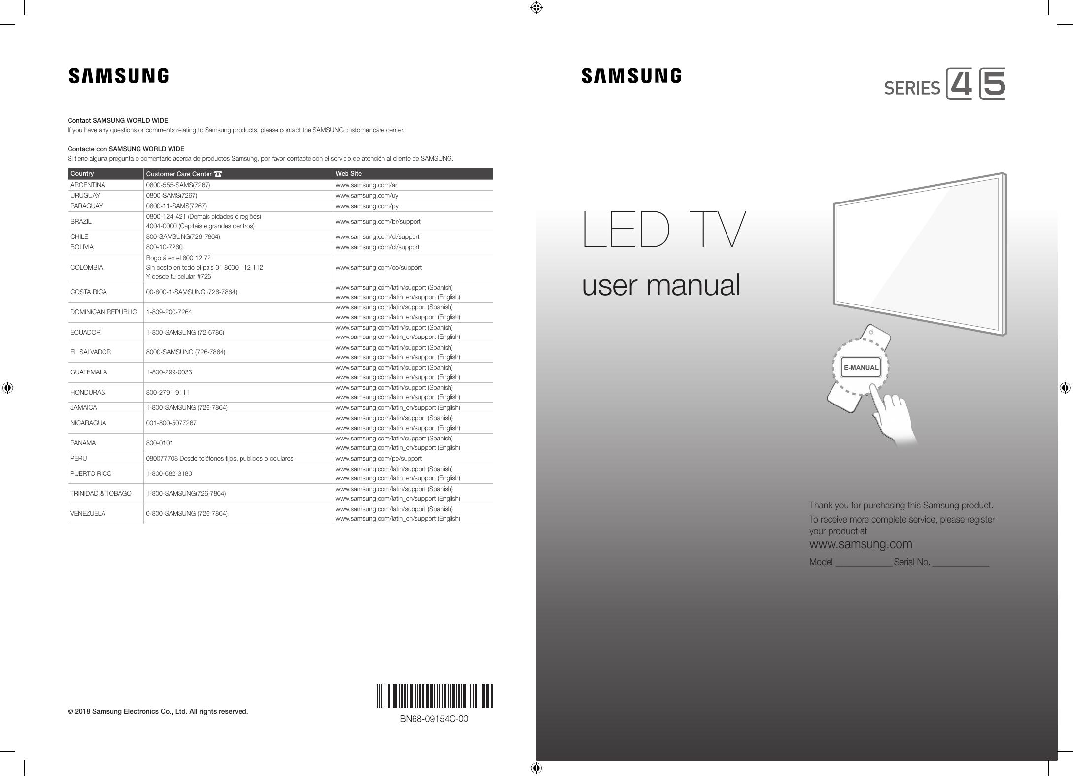 Samsung 32'' HD Plano Smart TV J4290 Serie 4 Manual de Usuario | Manualzz