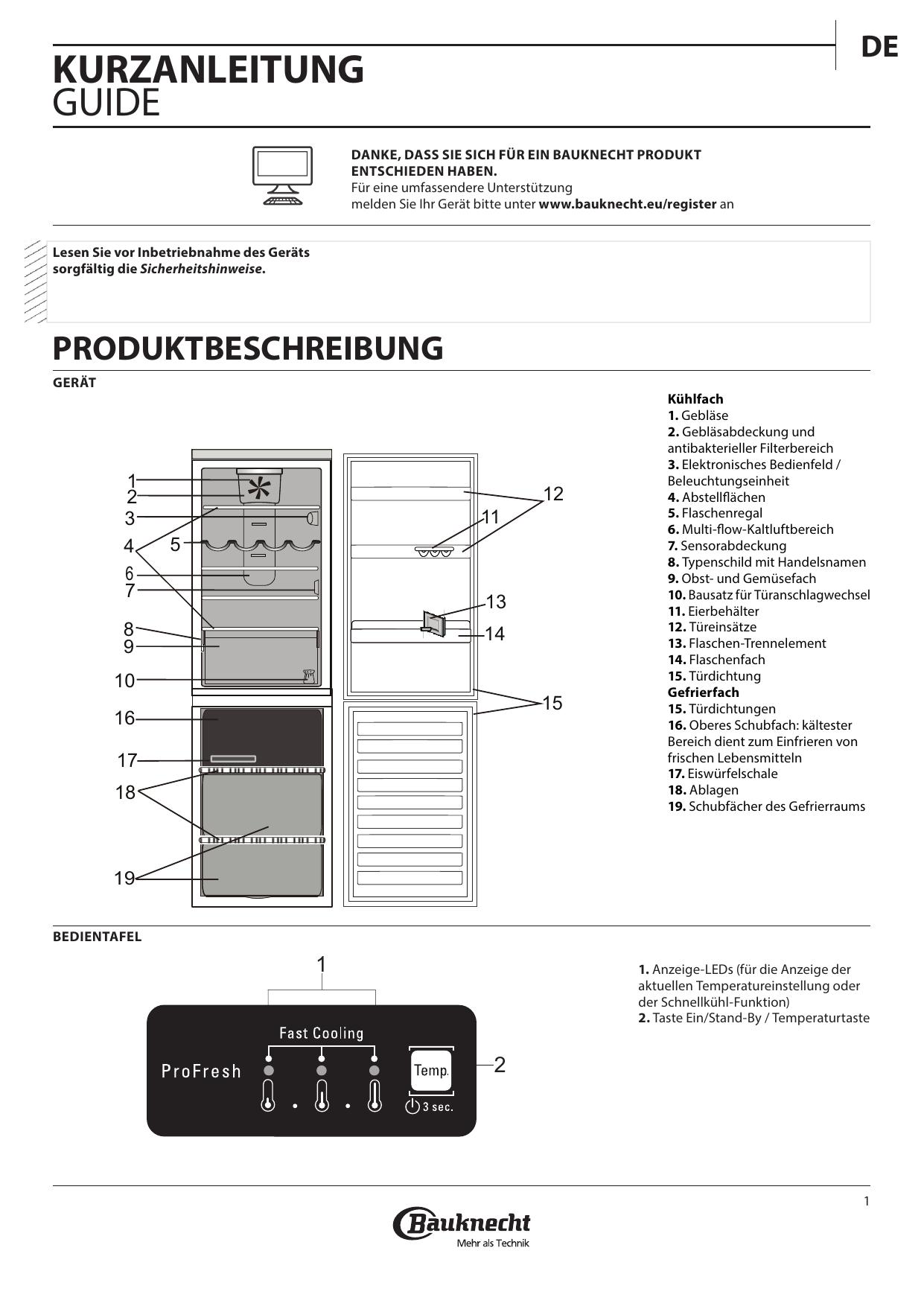 Bauknecht Kgnfi 18 A2 In Setup And User Guide Manualzzcom