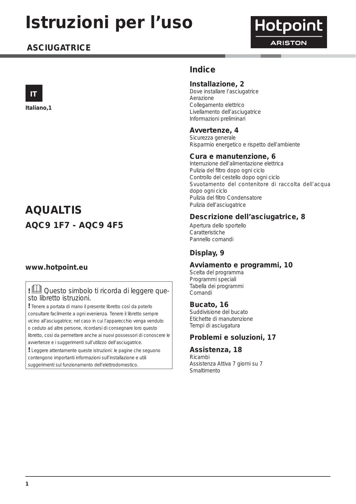 Appendere Asciugatrice Al Muro whirlpool aqc9 4f5 t/z1 (it) instruction for use   manualzz