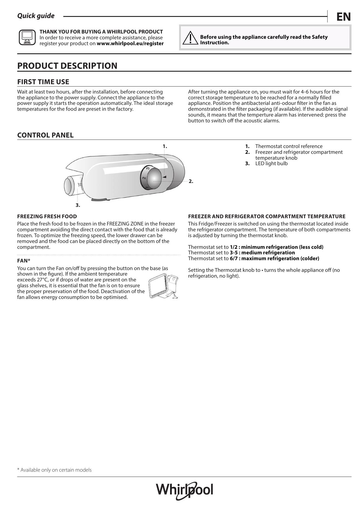 Whirlpool ART 6502/A+ Setup and user guide   manualzz com