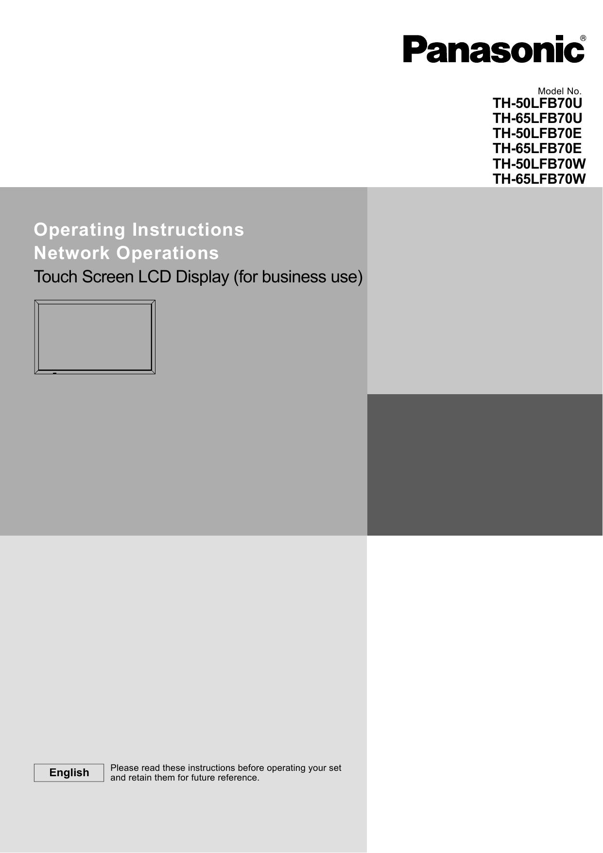 Panasonic TH50LFB70E Operating Instructions | manualzz com